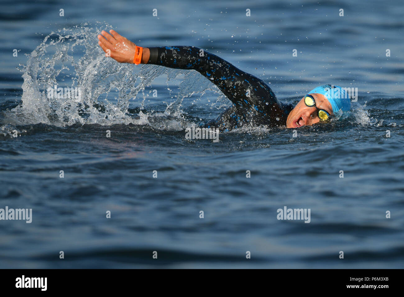 Edinburgh, UK. 1st Jul, 2018. Ironman 70.3 takes place at Preston Links with a swim in the sea over 1.2 miles, followed by a 56 mile cycle through the Lothians and a 13.1 mile run in Holyrood Park.  Credit: Steven Scott Taylor/Alamy Live News - Stock Image
