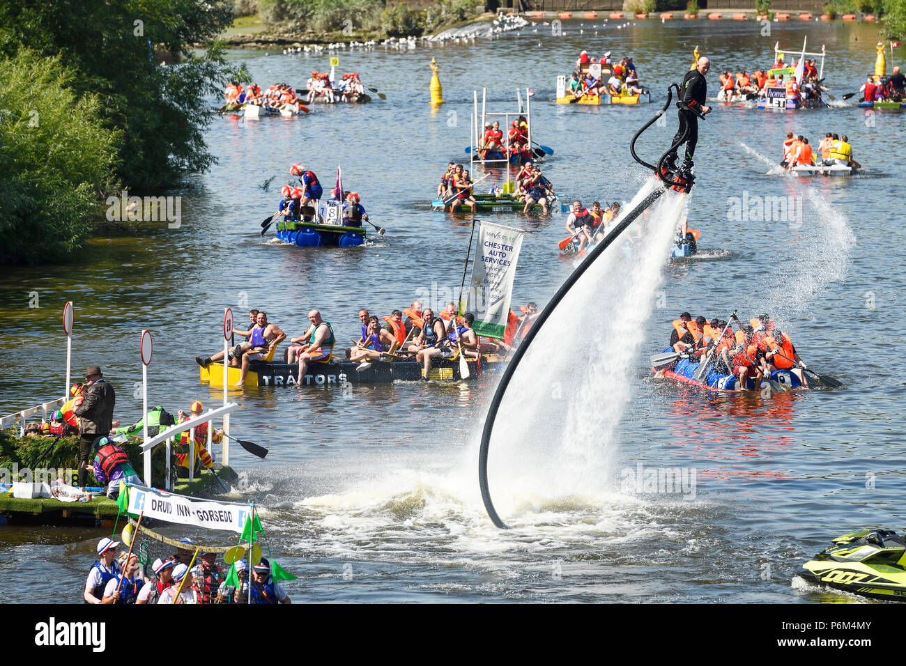 Chester, UK. 1st July 2018. The annual charity raft race on the River Dee organised by Rotary Club. Credit: Andrew Paterson/Alamy Live News - Stock Image
