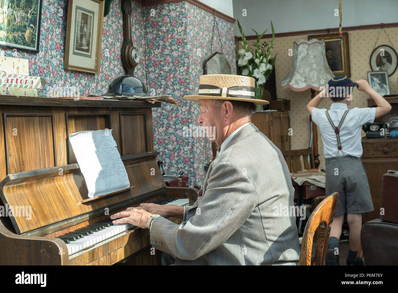 Kidderminster, UK. 1st July, 2018. A journey back in time continues at the Severn Valley Railway as all involved turn the clock back to the 1940s. Visitors and staff pull out all the stops to ensure a realistic wartime Britain is experienced by all on this heritage railway line. Credit: Lee Hudson/Alamy Live News - Stock Image