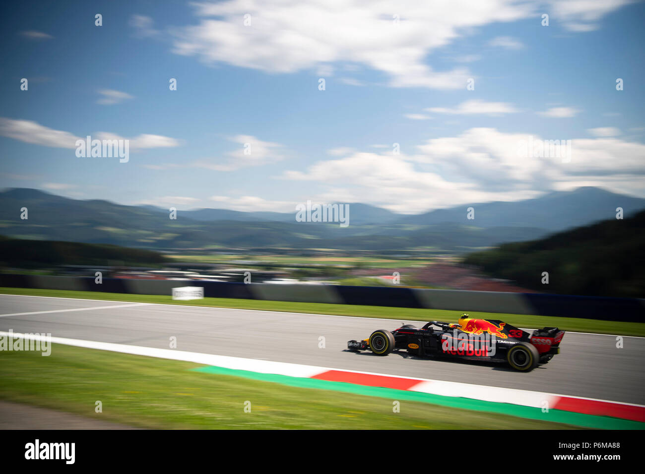Red Bull Ring, Spielberg, Russia. 1st Jul, 2018. Red Bull Racing's Dutch driver Max Verstappen competes during Austrian Formula 1 Grand Prix race at the Red Bull Ring, in Spielberg, Austria on July 1, 2018. Credit: Jure Makovec/Alamy Live News - Stock Image