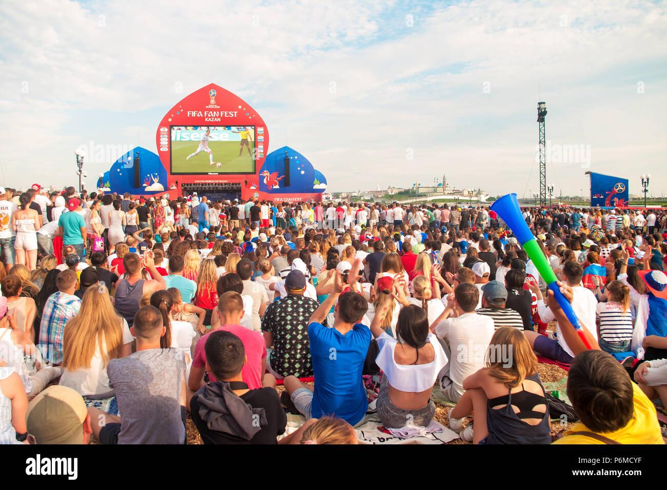 KAZAN, RUSSIA - 1 JULY, 2018: Russia football fans cheering at Kazan Fan Fest Zone as Artem Dzyuba runs with the football on screen during Spain vs Russia match. Credit: Aygul Sarvarova/Alamy Live News Stock Photo