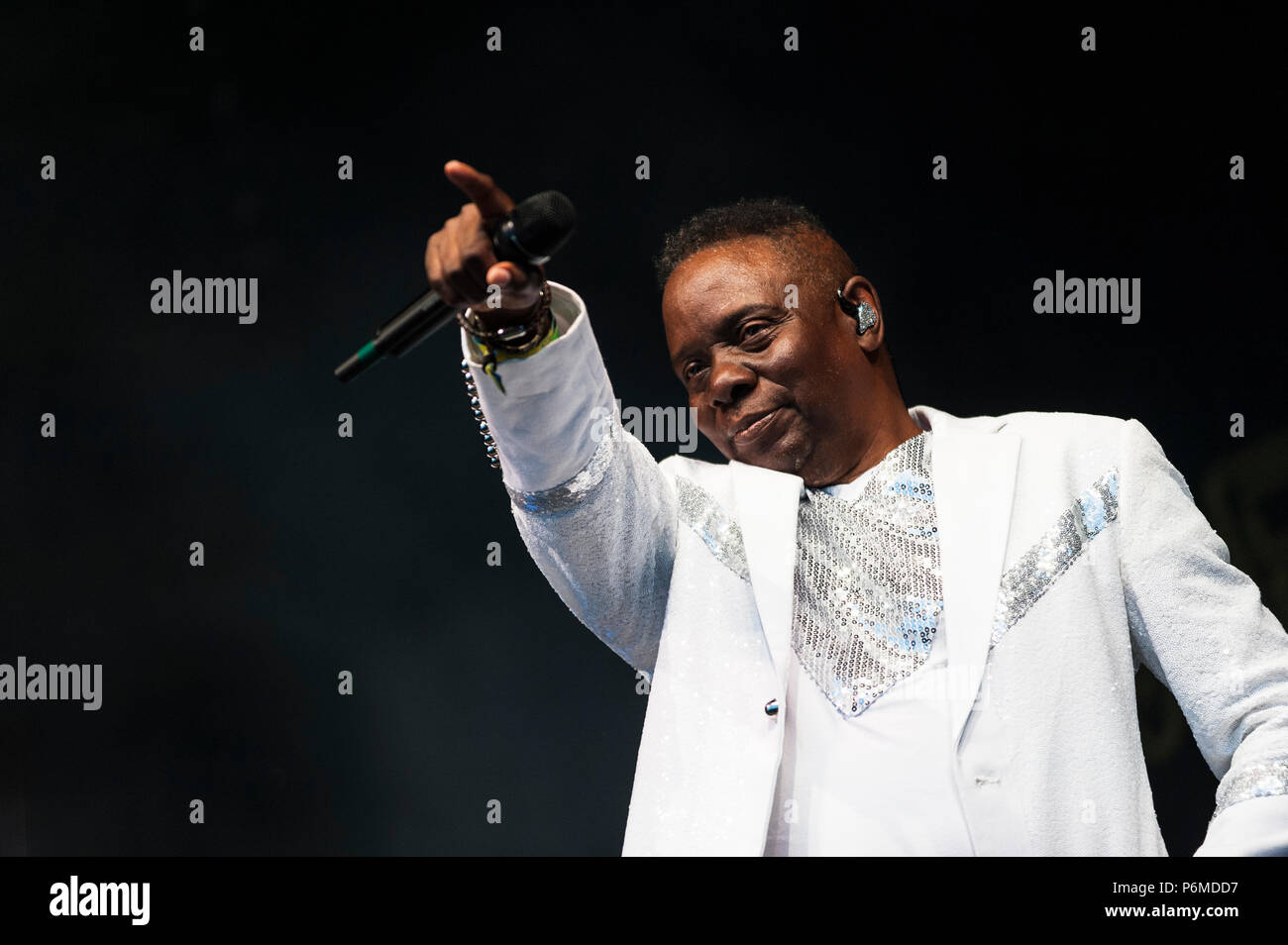 Glynde, East Sussex, 1st July 2018. Love Supreme Jazz Festival. Earth Wind & Fire close the Main Stage on the final night of Love Supreme Jazz Festival. Credit: Francesca Moore/Alamy Live News - Stock Image