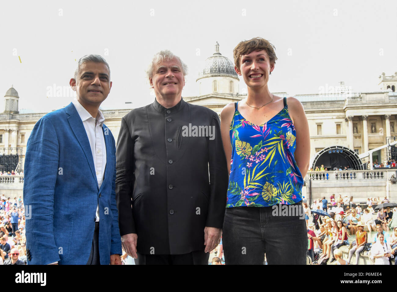 London, UK. 1st July, 2018. Photocall of Sadiq Khan,Sir Simon Rattle, KATE WHITLEY at the BMW Classics + live streamed on YouTube in Trafalgar Square on a hot weather in London, UK on July 1st 2018. Credit: Picture Capital/Alamy Live News - Stock Image
