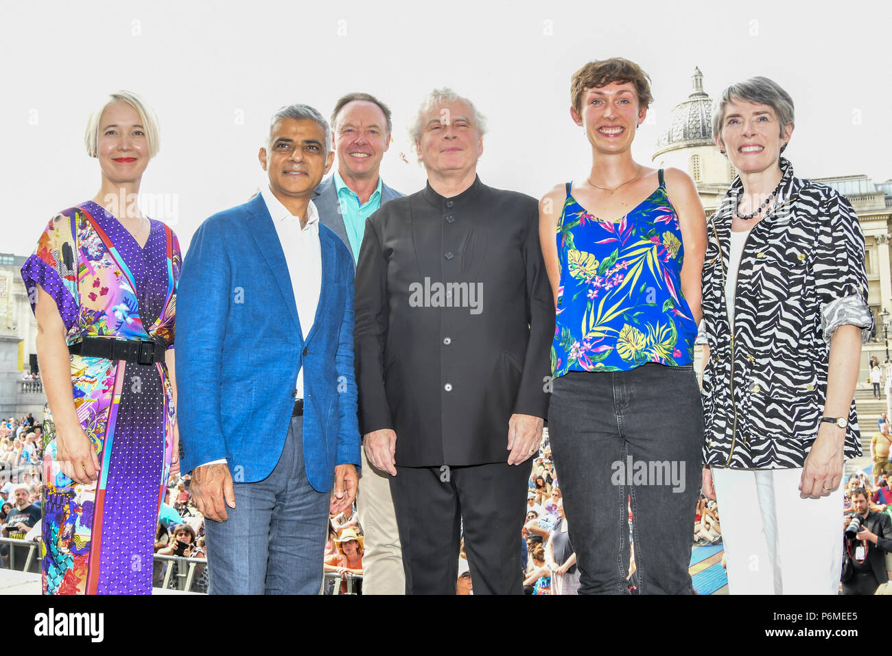 London, UK. 1st July, 2018. Photocall of Sadiq Khan,Sir Simon Rattle, KATE WHITLEY,Kathryn McDowell at the BMW Classics + live streamed on YouTube in Trafalgar Square on a hot weather in London, UK on July 1st 2018. Credit: Picture Capital/Alamy Live News - Stock Image
