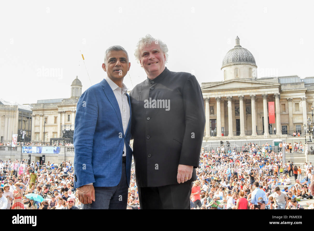 London, UK. 1st July, 2018. Photocall of Sadiq Khan,Sir Simon Rattle at the BMW Classics + live streamed on YouTube in Trafalgar Square on a hot weather in London, UK on July 1st 2018. Credit: Picture Capital/Alamy Live News - Stock Image