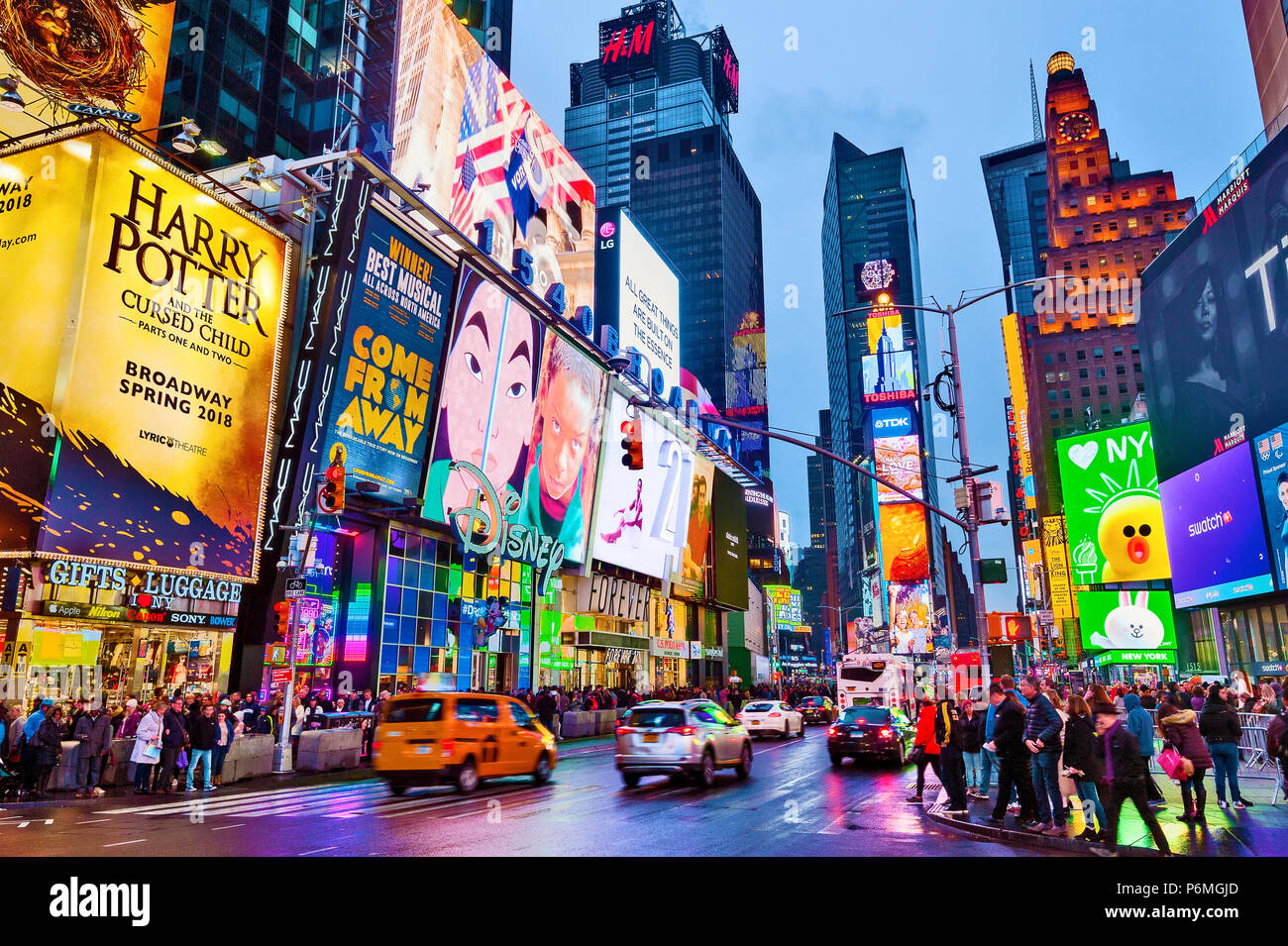 Times Square New York Lights Manhattan New York City - Stock Image