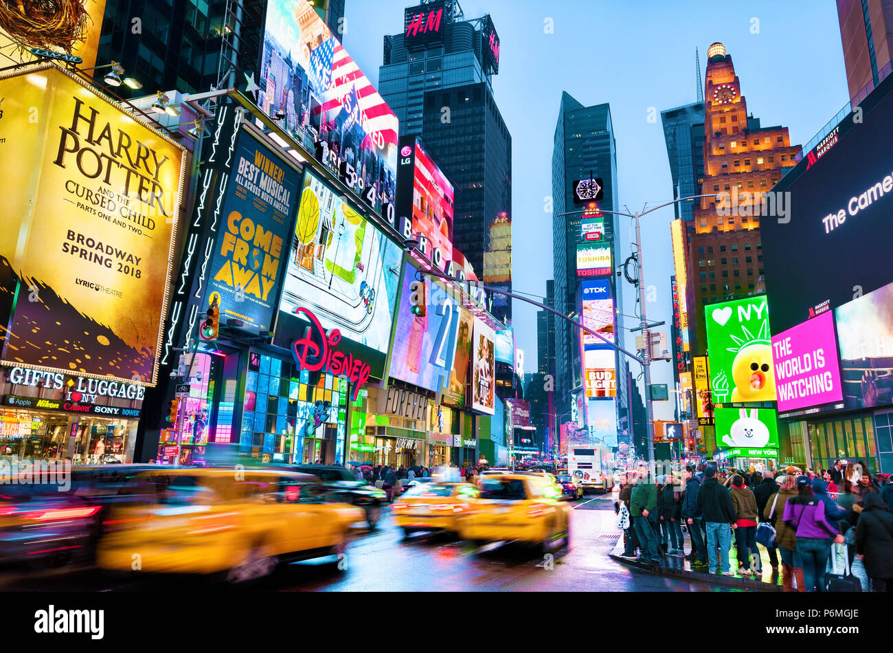 New York Times Square Lights Manhattan New York City - Stock Image