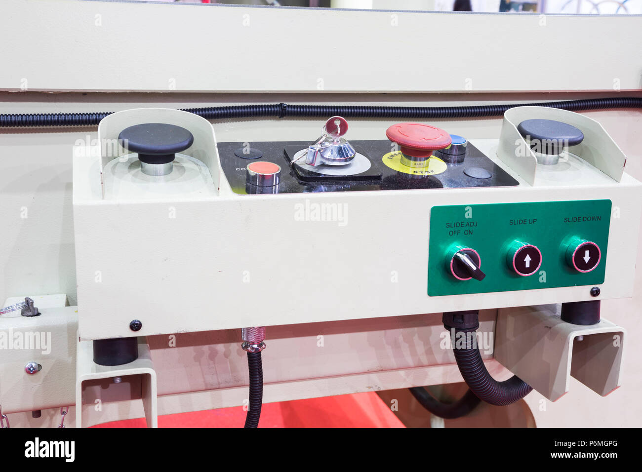 push switch and control pannel of forging machine - Stock Image