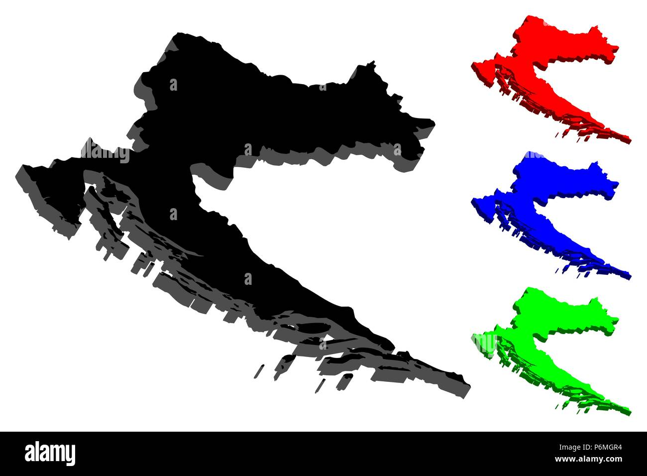 3D map of Croatia (Republic of Croatia) - black, red, blue and green ...