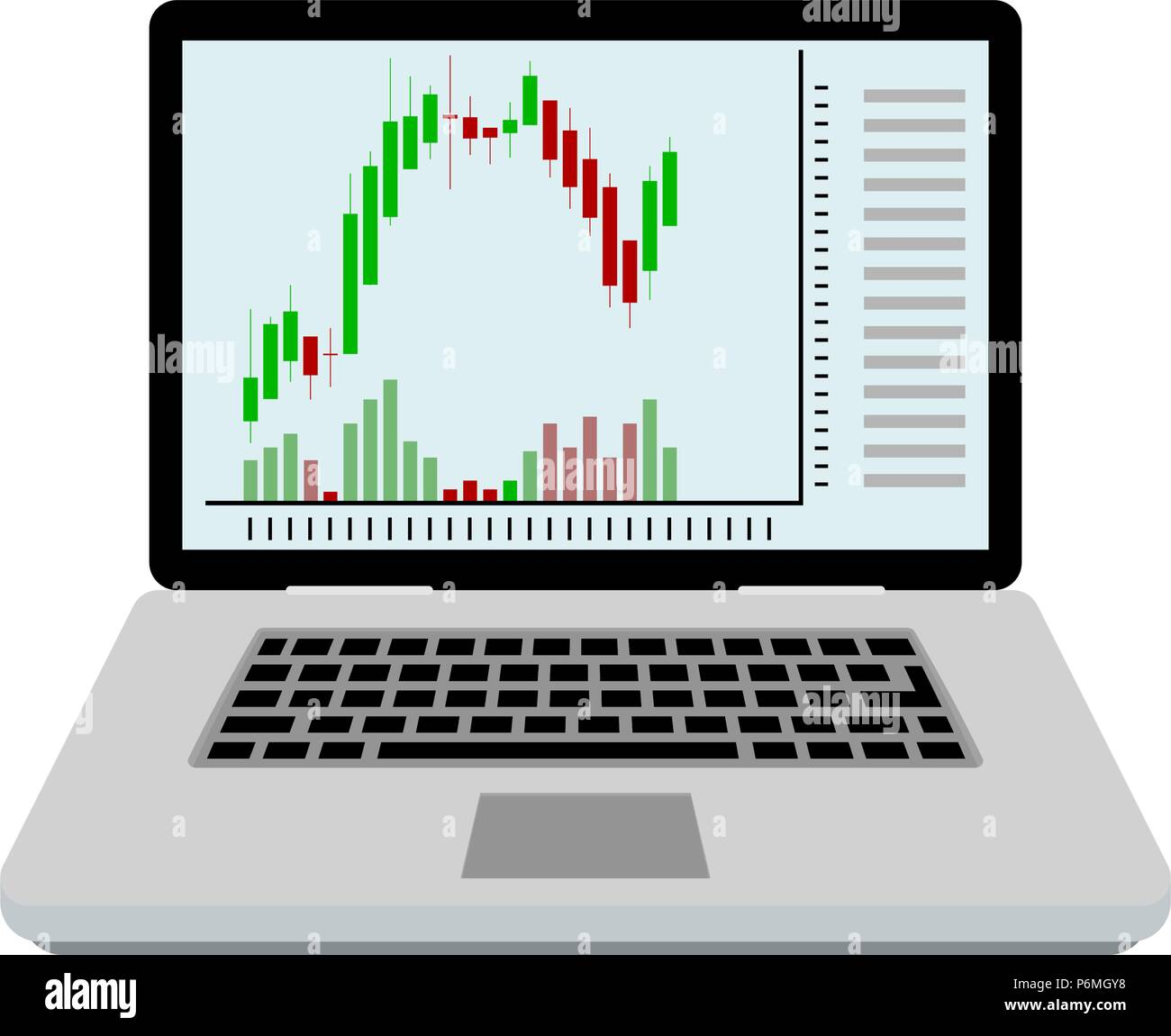 Candlestick chart on screen laptop. Play trade strategy, technical growth currency online, vector illustration Stock Vector