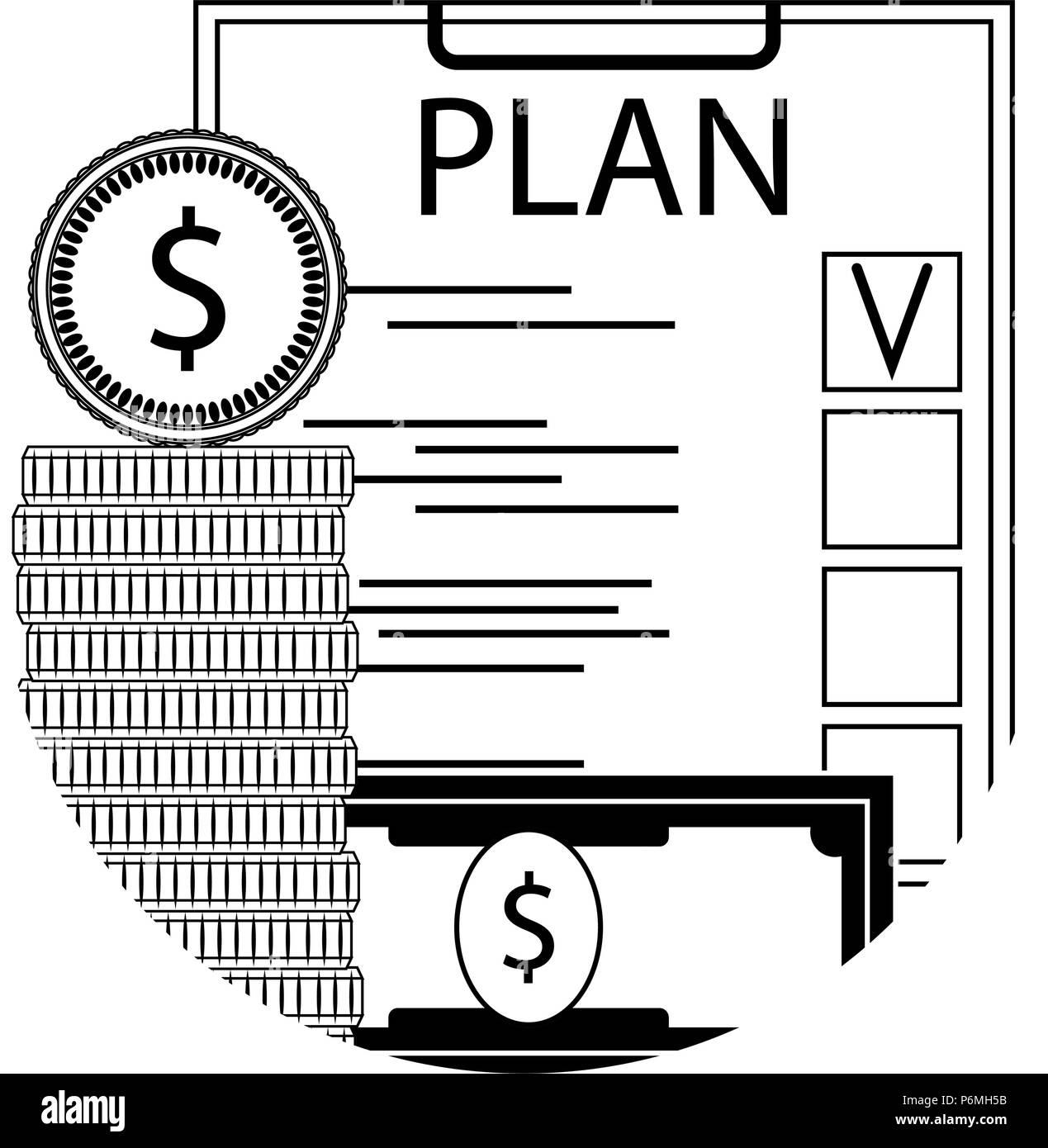 finance plan checklist line icon money capital budget planning