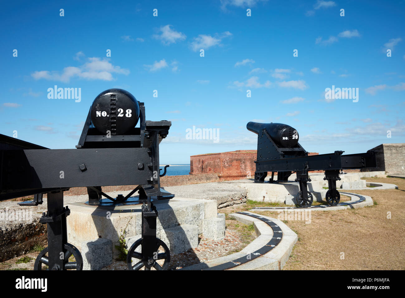 Cannons in rampart of Fort Clinch - Stock Image
