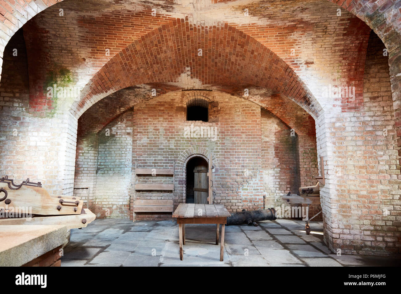 Inside a bastion at Fort Clinch - Stock Image