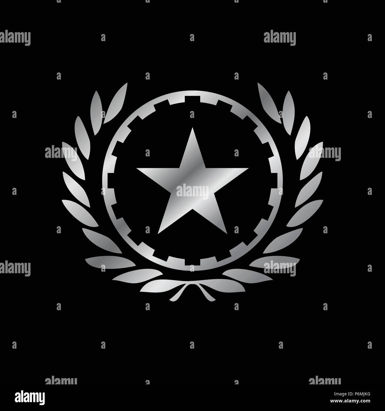 Silver Working Class Hero Emblem Vector Symbol Graphic Logo Design - Stock Vector