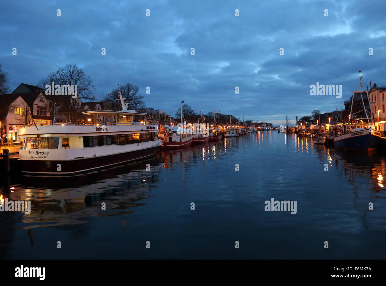 Warnemuende, the Old Stream at the Blue Hour in the morning - Stock Image
