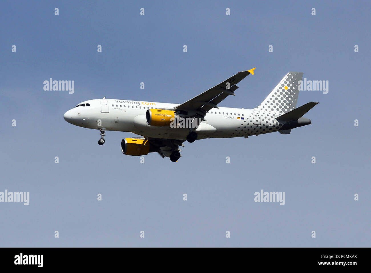 Hannover, Germany - Machine of the airline Vueling Airlines in the air - Stock Image