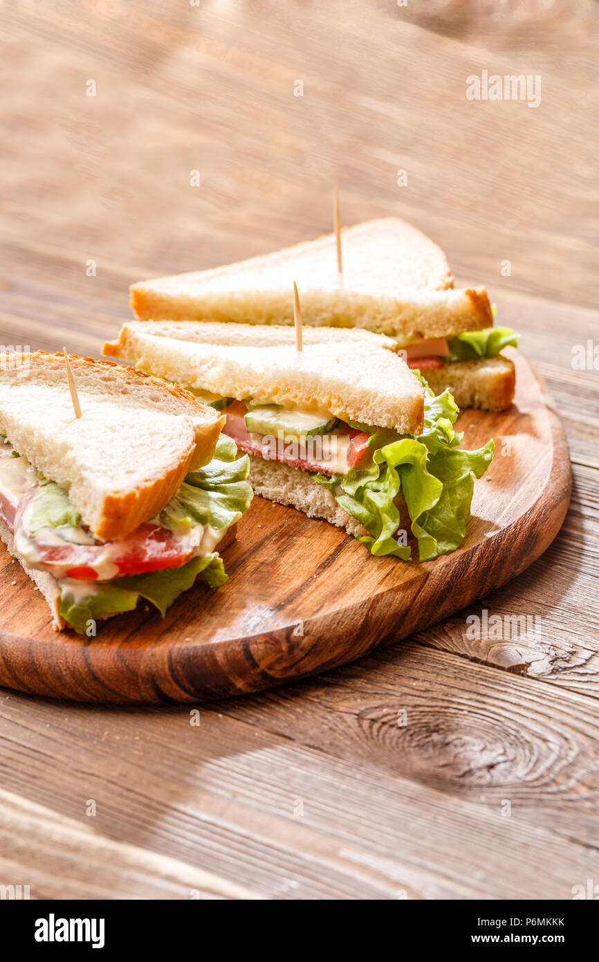 Picture of sandwiches with toothpicks - Stock Image