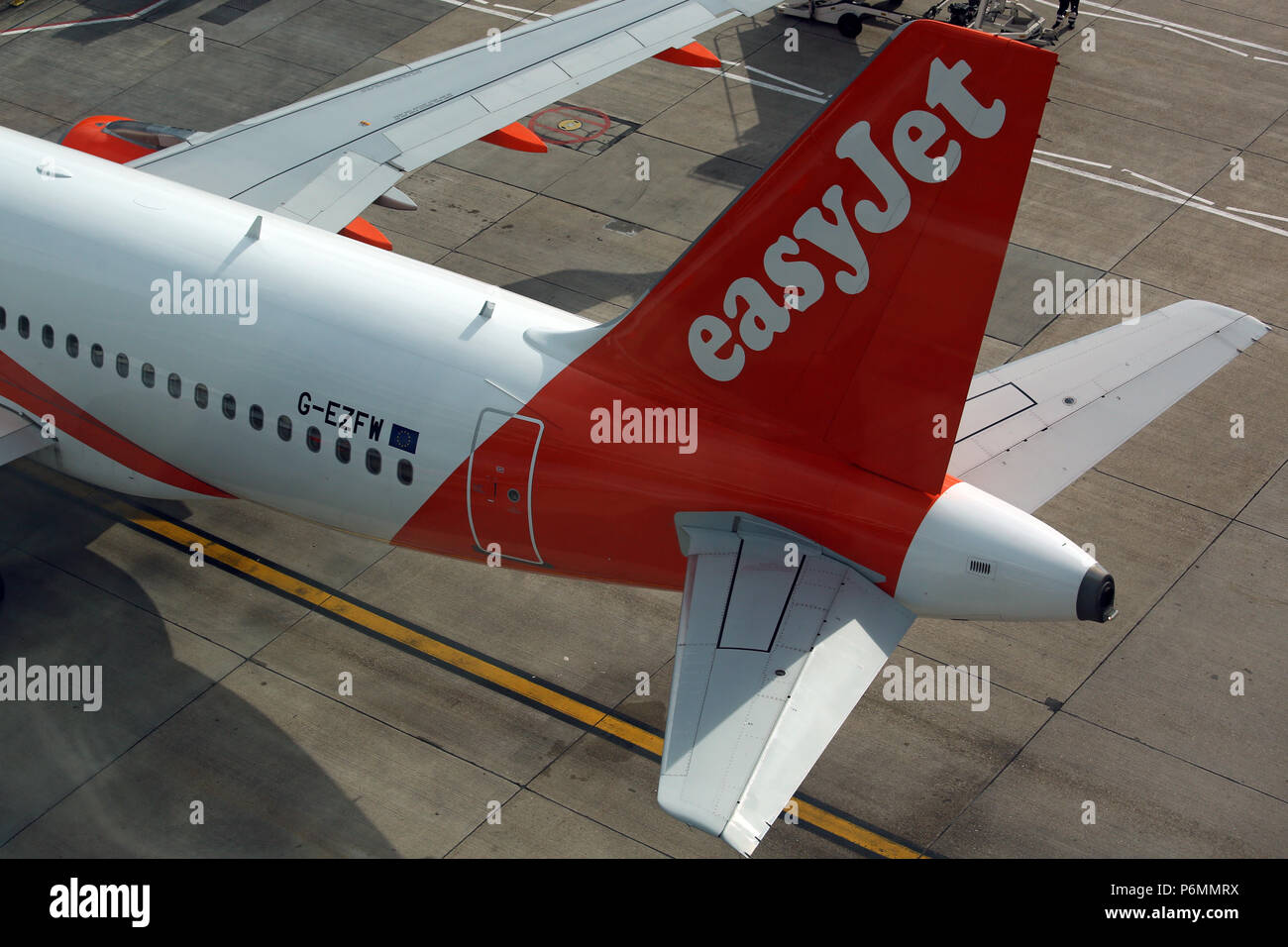 London, United Kingdom, rear wing of Airbus A 319 of airline easyJet - Stock Image