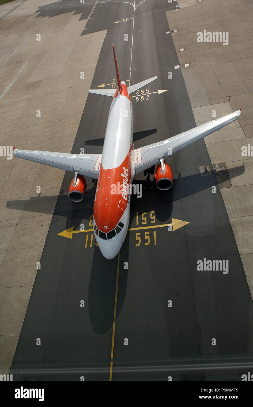 London, United Kingdom, Airbus A 320 of the easyJet airline on the London Gatwick airport taxiway - Stock Image
