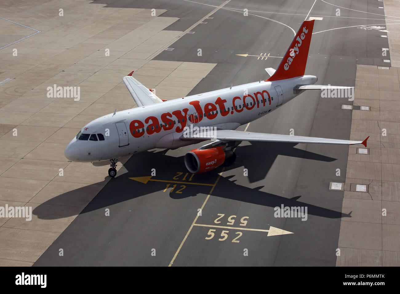 London, United Kingdom, Airbus A 319 of the airline easyJet on the taxiway of London Gatwick Airport - Stock Image