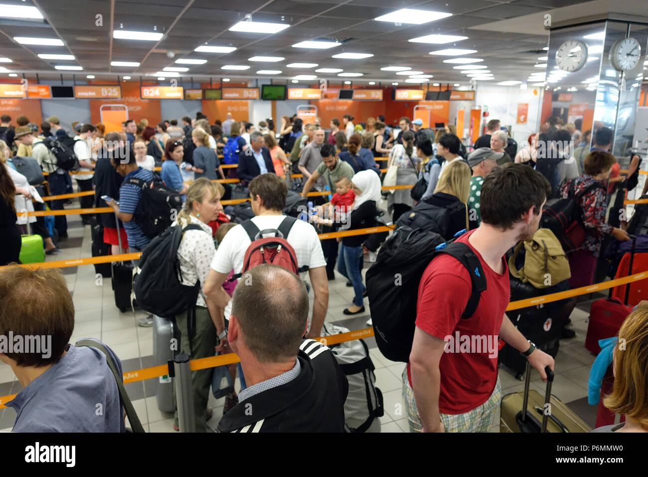Berlin, Germany, Airline passengers arrive at the check-in of easyJet at the airport Berlin-Schoenefeld - Stock Image