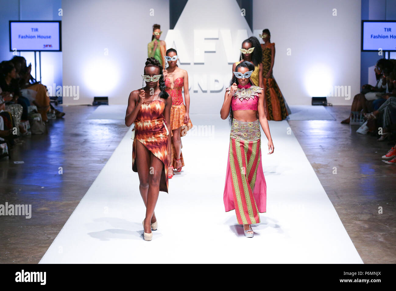 London, UK, August 2014, TIR Fashion House showcased their new collection at Africa Fashion Week London 2014. Mariusz Goslicki/Alamy - Stock Image