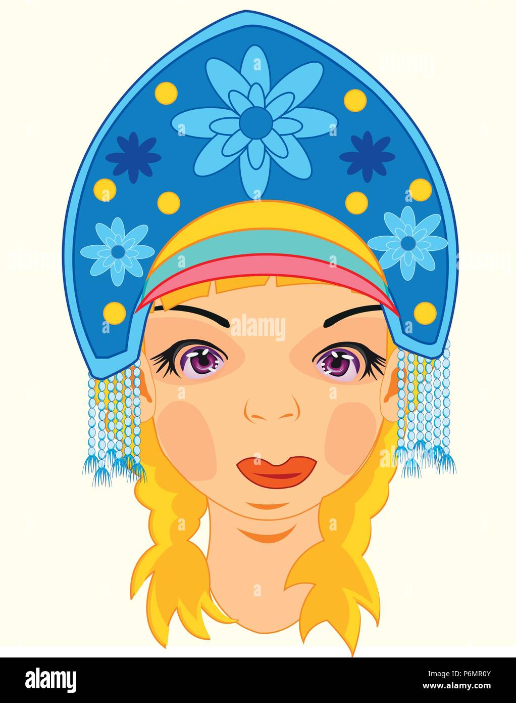 Girl in national headdress woman s headdress - Stock Image