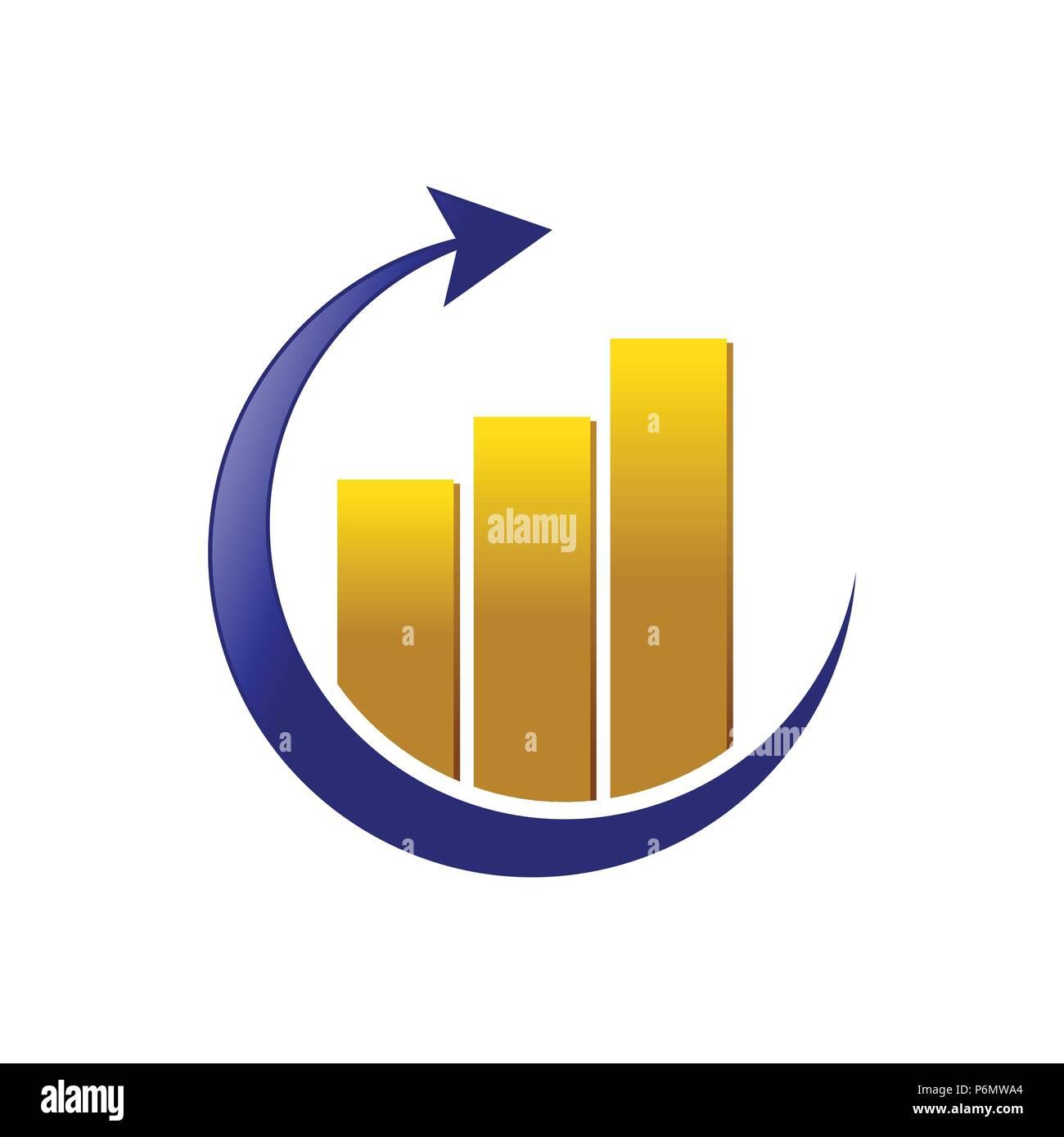 Golden Global Marketing Statistic Vector Symbol Graphic Logo Design - Stock Image