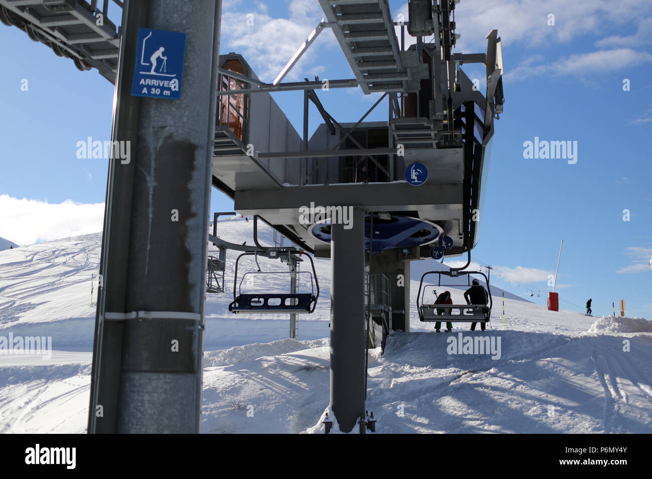 French Alps. Mont-Blanc massif. Ski slope and  chairlifts.  Saint-Gervais. France. Stock Photo