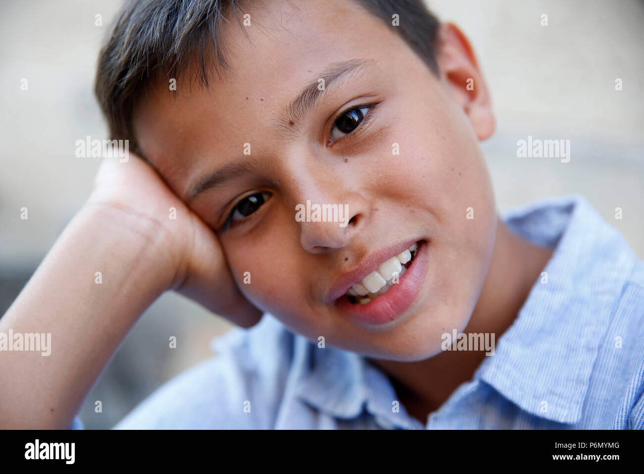 11-year-old boy in Salento, Italy. - Stock Image