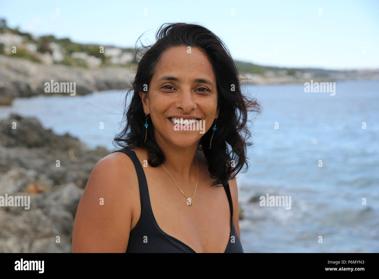 40-year-old woman in Salento, Italy. - Stock Image