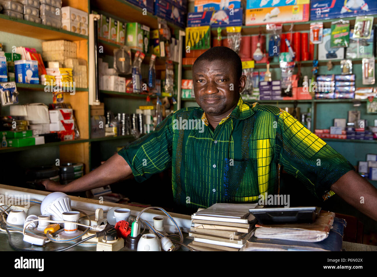 Hardware shop financed by microfinance in Dapaong, Togo. - Stock Image