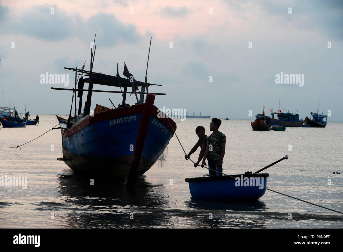 Hang Dua Bay, fishing boats at sun rise.  Vung Tau. Vietnam. - Stock Image
