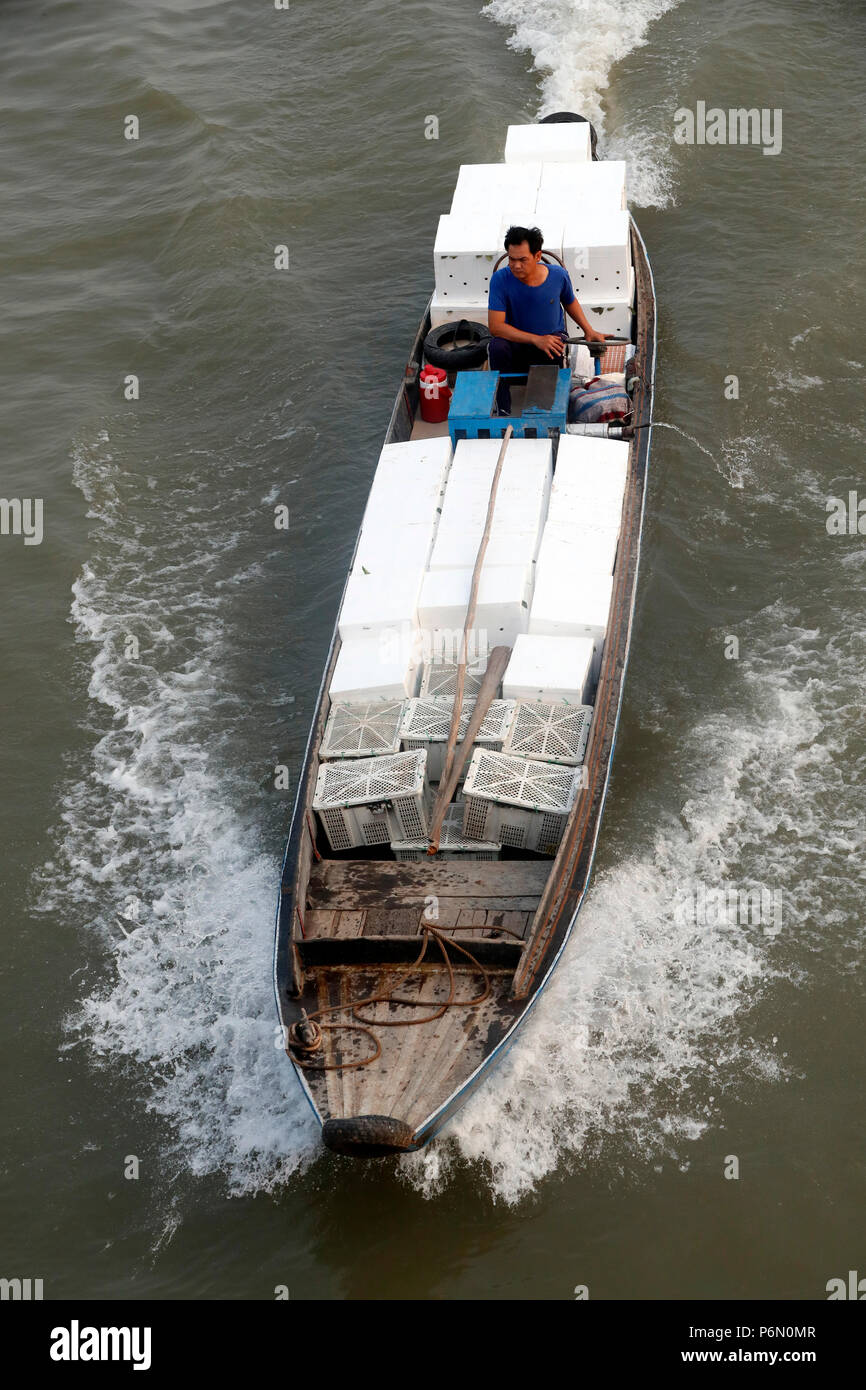 Mekong Delta. Overhead of long wooden boat  Cai Be. Vietnam. Stock Photo