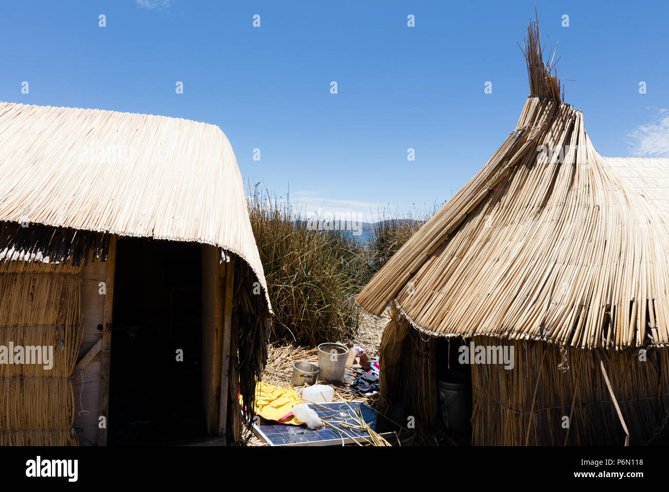 traditional tent on the Titicaca lake near Puno, Peru - Stock Image
