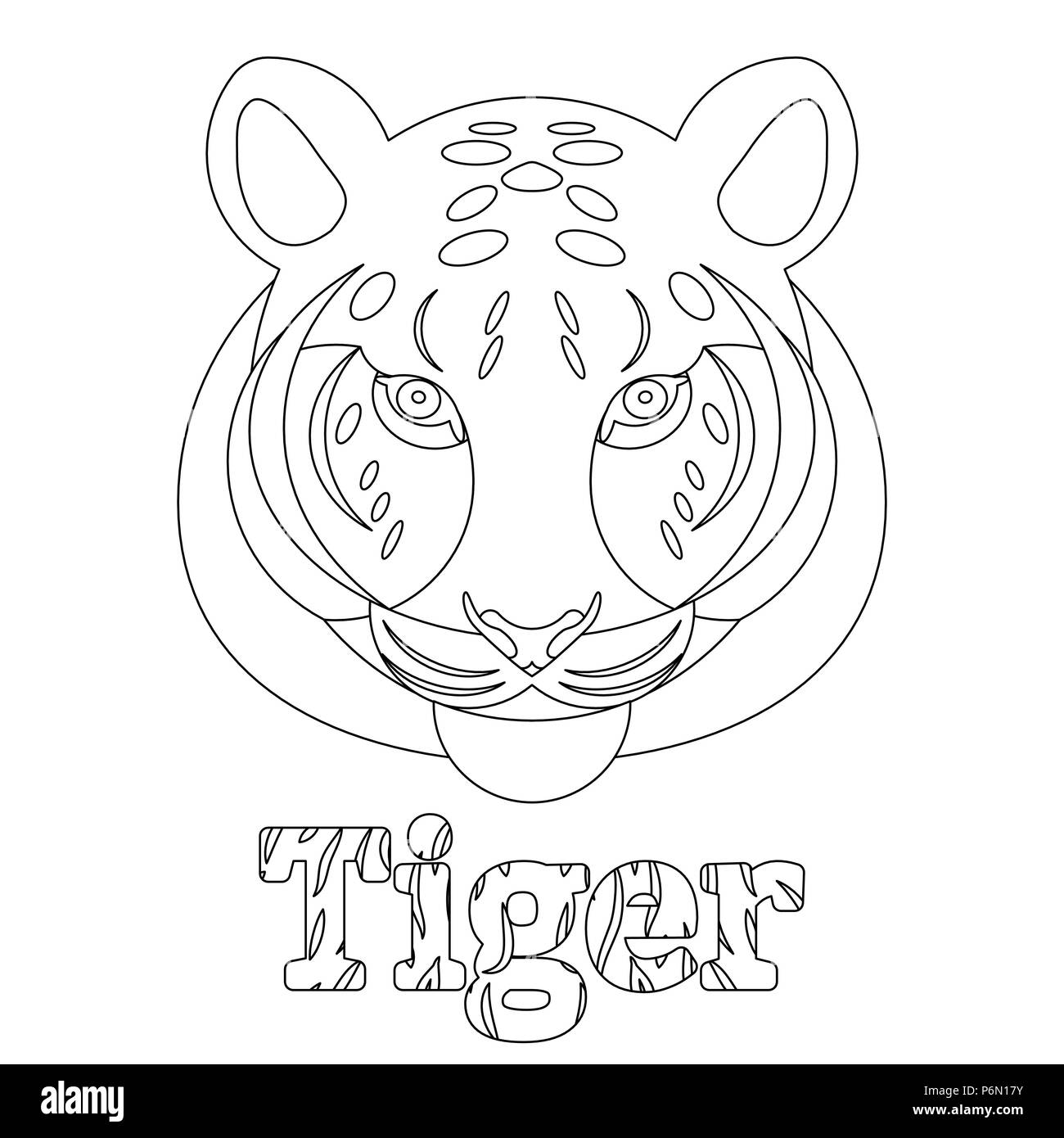 Tiger. Coloring page for kids. Wild mammal is an animal. Linear style. Name of the animal with its fur texture - Stock Image