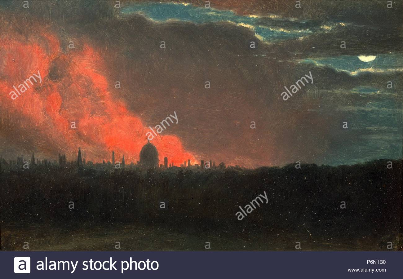Fire in London, Seen from Hampstead The Burning of the Houses of Parliament Fire at the House of Parliament, Oct. 16, 1834, as seen from Hampstead, Attributed to John Constable, 1776-1837, British. - Stock Image