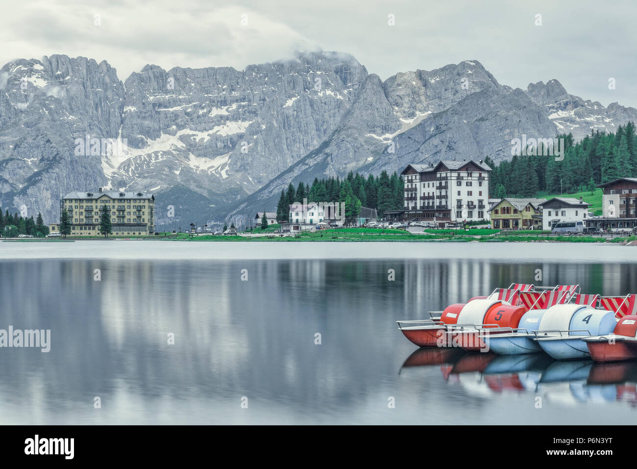 Lake Misurina, Belluno, Veneto, Dolomites, Italy, Europe - Stock Image