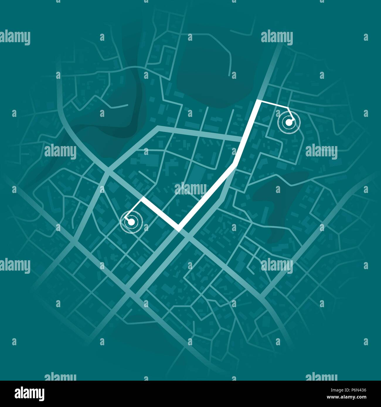 gps system concept. blue city map with route markers. vector