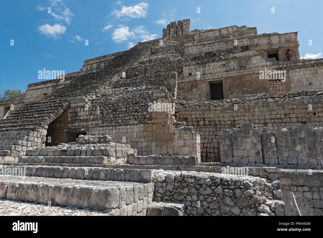 Ruins of the ancient Mayan city of Edzna near campeche, mexico - Stock Image
