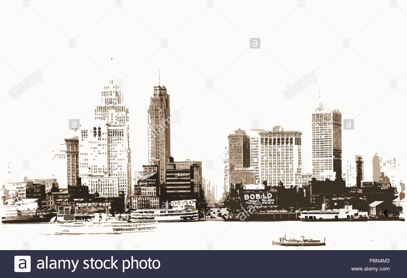 Detroit, Rivers, Skyscrapers, United States, Michigan, Detroit River, 1910. - Stock Image