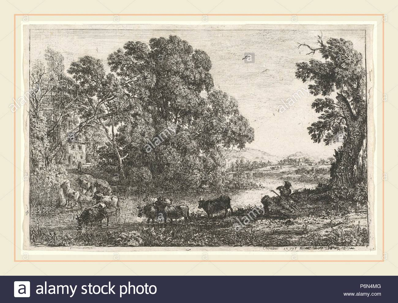 Claude Lorrain, French (1604-1605-1682), The Cowherd (Le bouvier), 1636, etching. - Stock Image