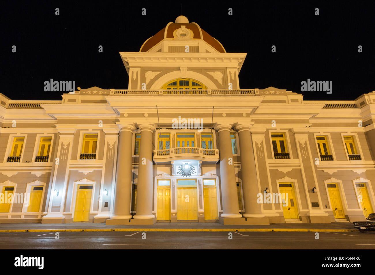 Antiguo Ayuntamiento at night, home of the provincial government building in Cienfuegos, Cuba Stock Photo