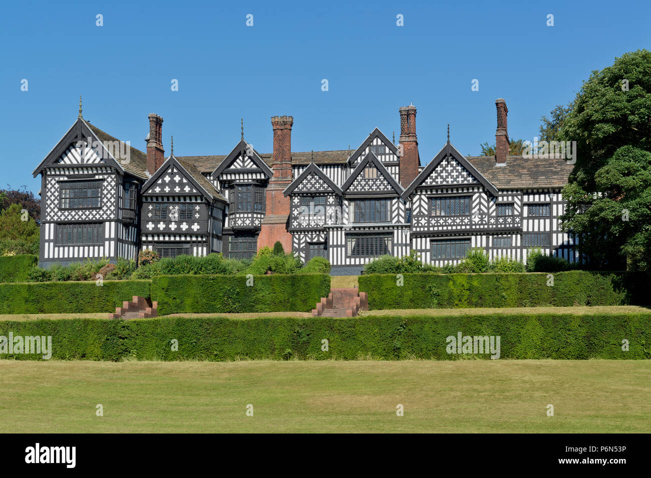 Bramall Hall located in Bramhall Park, Stockport, Cheshire. - Stock Image