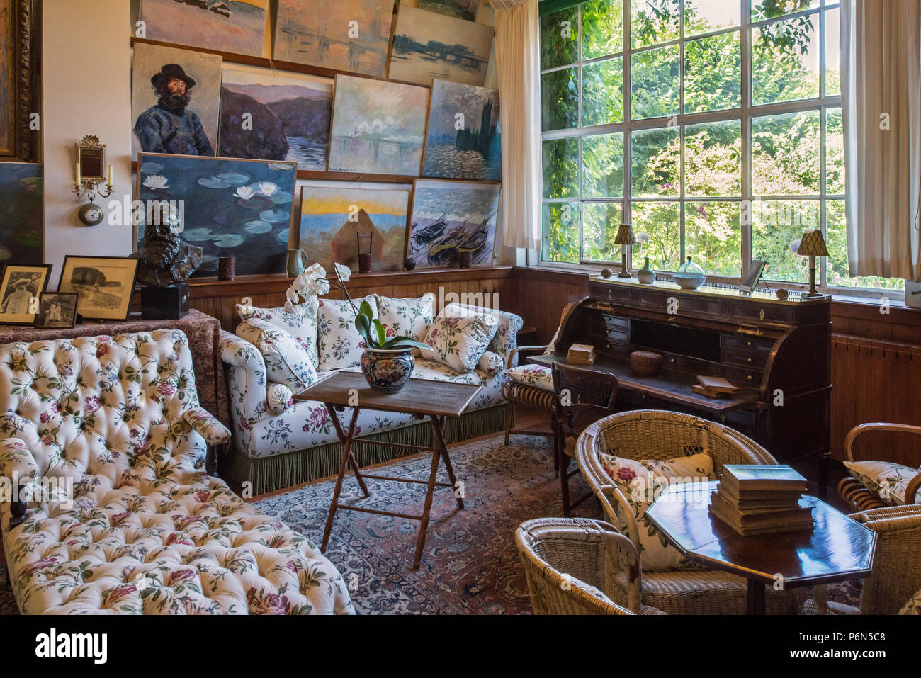 Living Room Studio In The House Of Claude Monet Painter And Founder Of French Impressionist Painting At Giverny Eure Department Normandy France Stock Photo Alamy