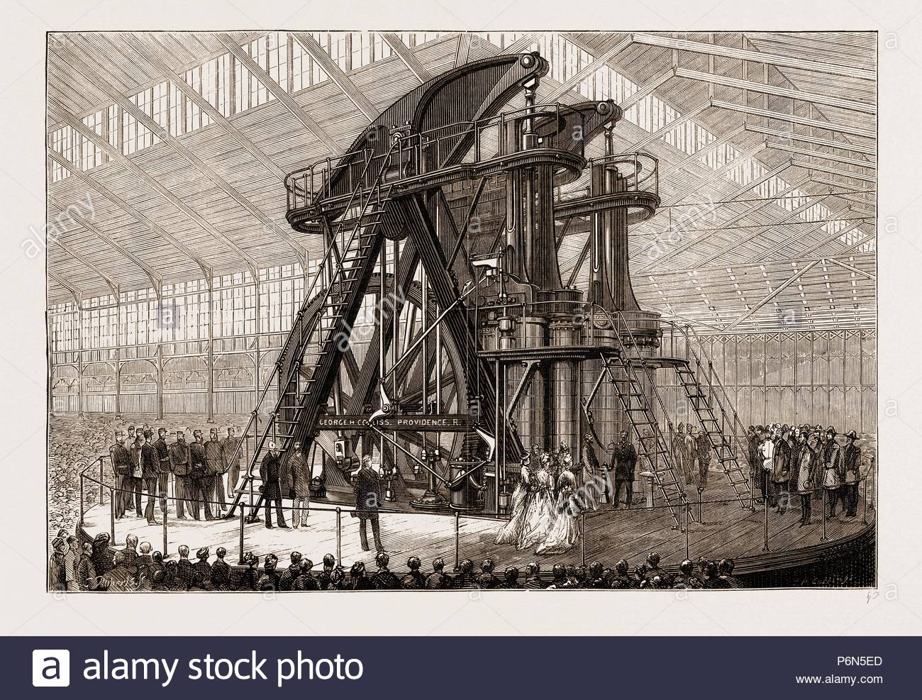"THE AMERICAN CENTENNIAL EXHIBITION, 1876: PRESIDENT GRANT AND THE EMPEROR  OF BRAZIL STARTING THE ""CORLISS"" ENGINE IN THE MACHINERY HALL, US, U.S.,  USA, ..."