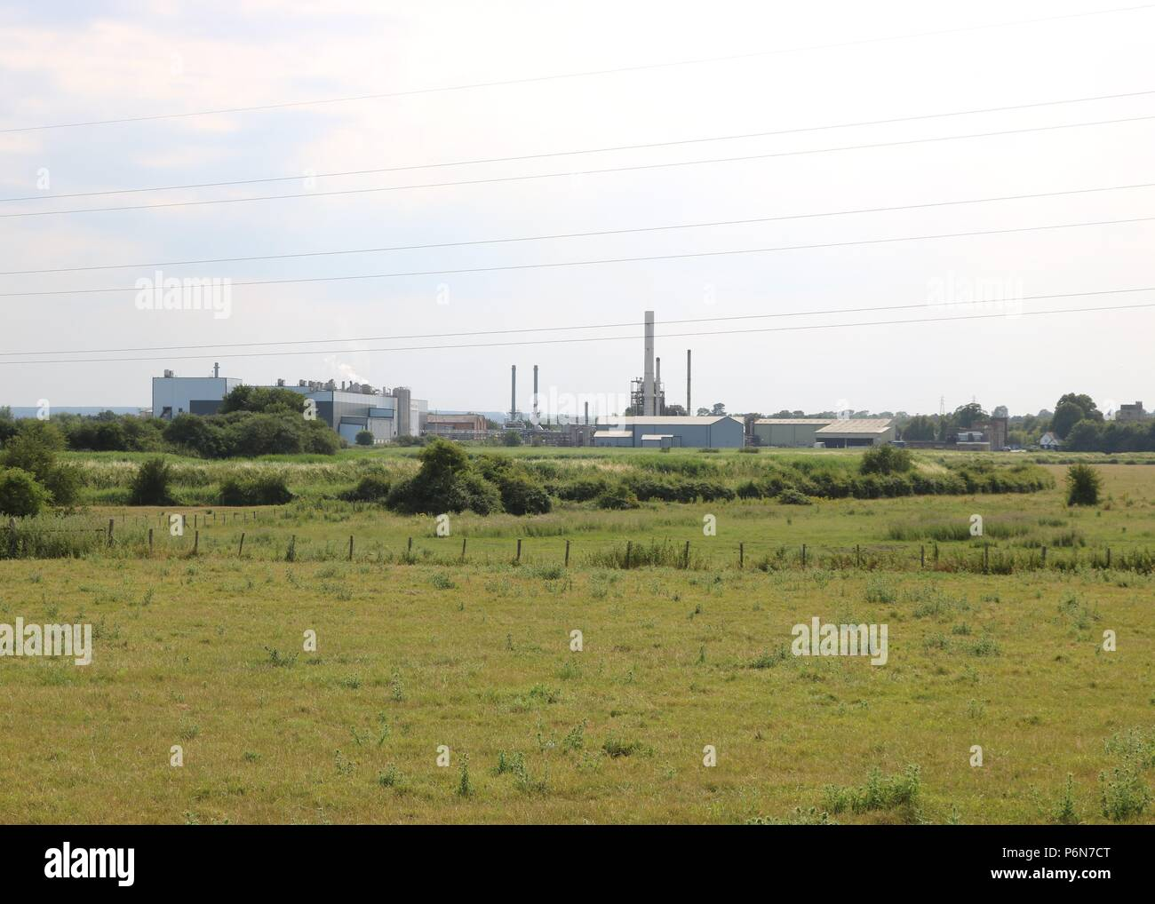 Green view , fields and factories - Stock Image