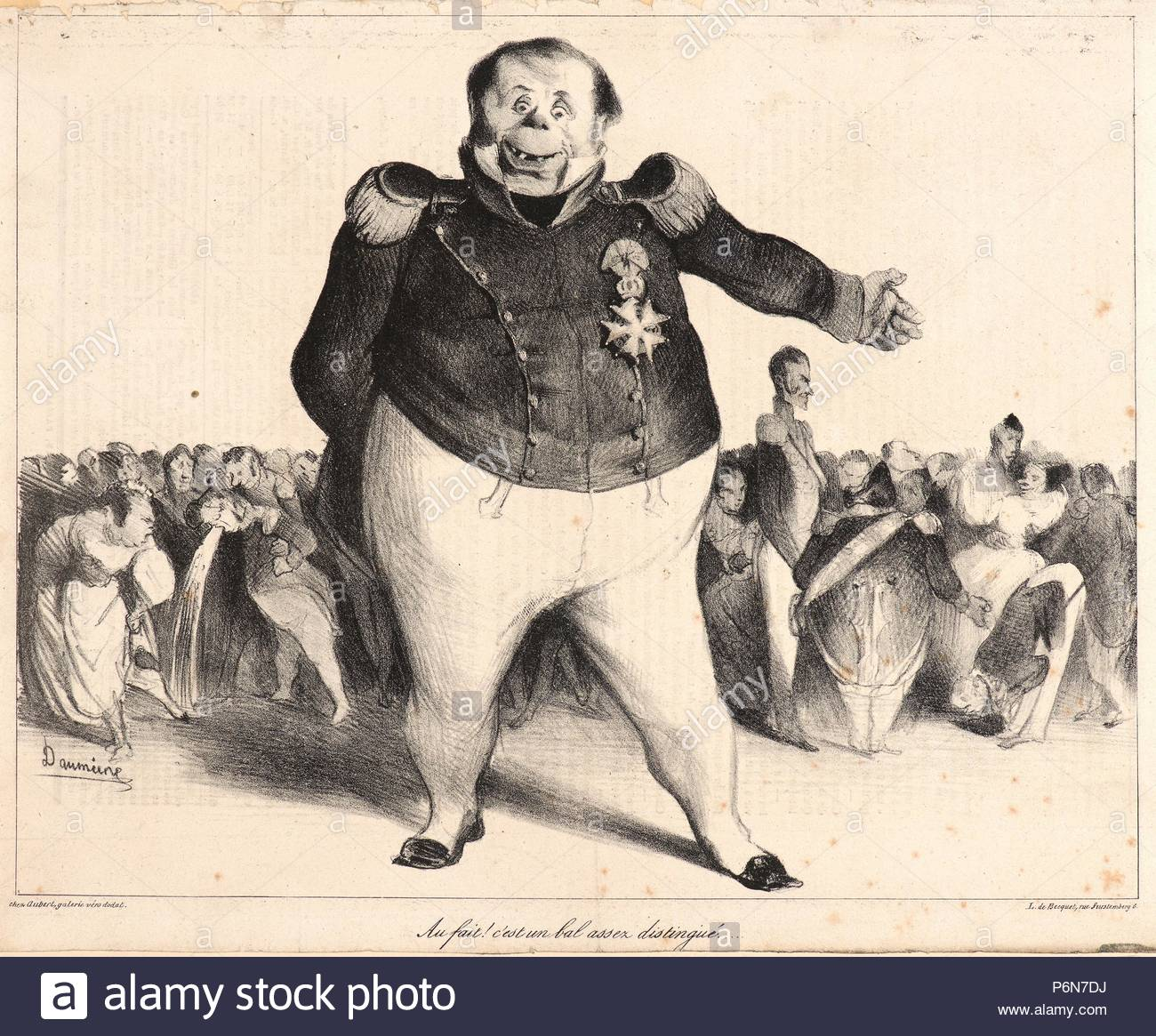 Honoré Daumier (French, 1808 - 1879). Au fait! C'est un bal assez distingue., 1833. Lithograph on newsprint paper. Image: 220 mm x 278 mm (8.66 in. x 10.94 in.). Only state. - Stock Image