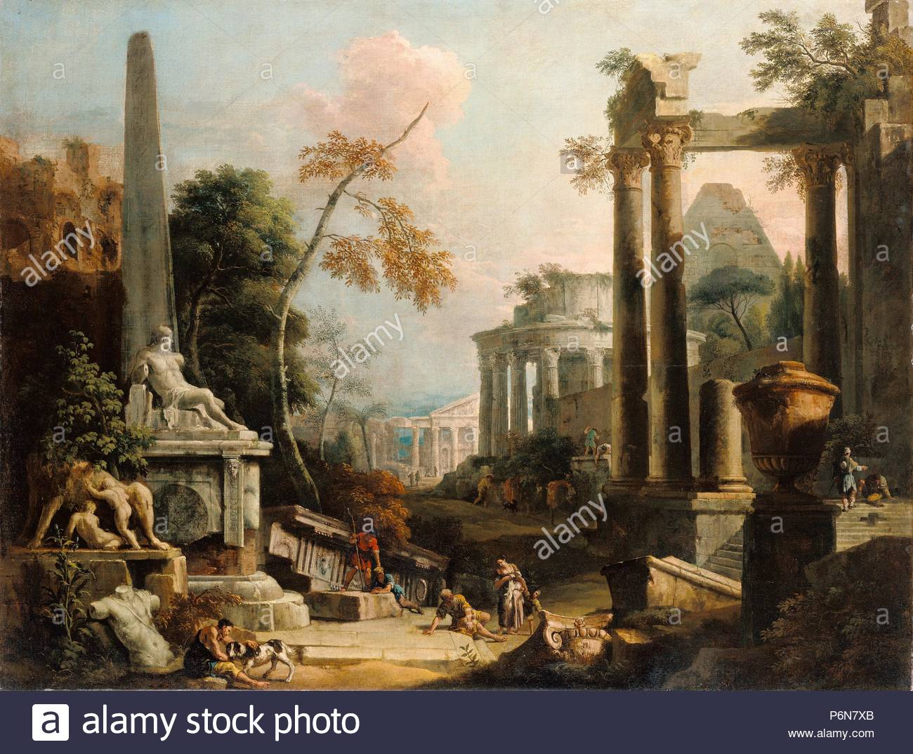 Landscape with Classical Ruins and Figures; Marco Ricci, Italian ...
