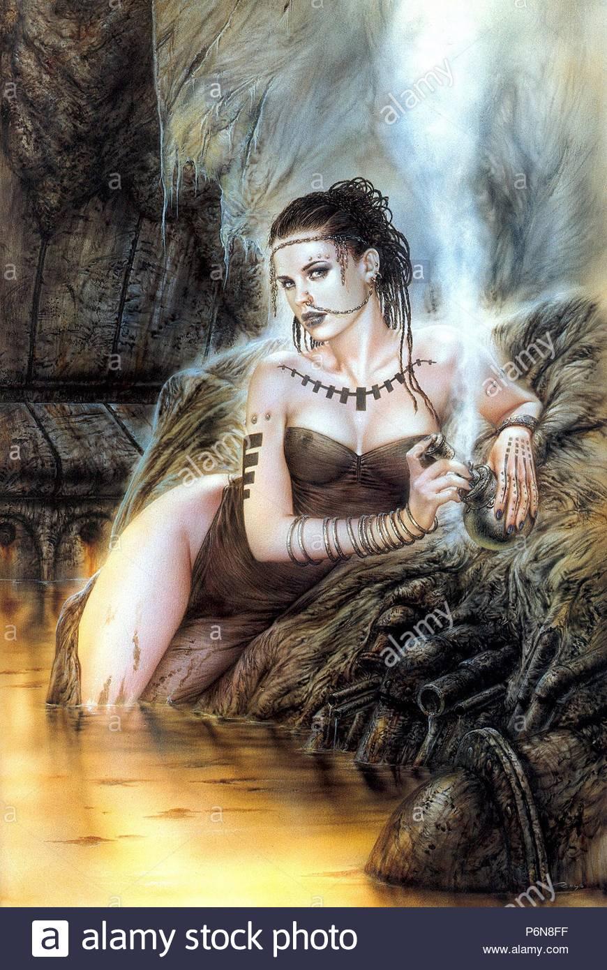 pintura de luis royo pentadas a mano - Stock Image